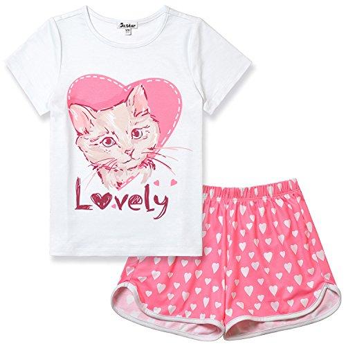 Girls Pajamas Cat Print Sleepwear Kid Cute Cotton Set Teen Summer Short Sleeves by Jxstar