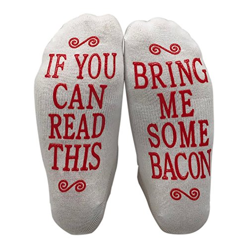 If You Can Read This Bring Me Some Bacon Gift Socks - Perfect Hostess or Housewarming Gift Idea, Birthday Present, or Mother's Day Gift for a Bacon Lover ()