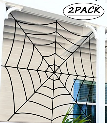 jollylife Fake Spider Web Halloween Decorations Outdoor - Black Yard Party Haunted House Decor 2PCS -