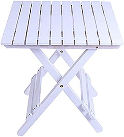 Mesas HAIZHEN Mesa Plegable de Madera Maciza Mesa Lateral pequeña portátil Jardín/Patio/Conservatorio Mesa de refrigerios al Aire Libre 45,6 × 42 × 53 cm (Color : White): Amazon.es: Hogar