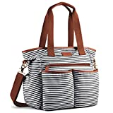 Plambag Striped Diaper Bag Baby Nappy Tote Shoulder Bag With Changing Pad(Black & White)