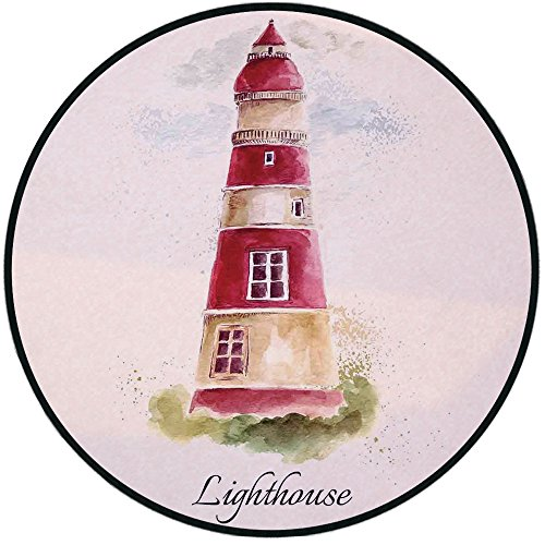 Printing Round Rug,Lighthouse Decor,Watercolor Lighthouse Print Pastel Faded Vintage Cursive Lettering Windows Grass Clouds Mat Non-Slip Soft Entrance Mat Door Floor Rug Area Rug For Chair Living Room