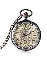 Luxury Pocket Watches, Dark Grey Hand Wind Mechanical Pocket Watches for Men, Wind Up Trendy Steampunk Pocket Watches Gift - WuHu Ren Store