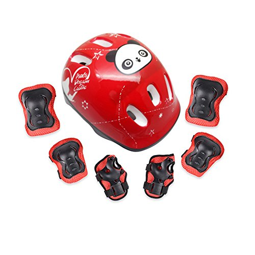 7pcs/set Ice Skating Protector Gear for kids (Helmet, Knee pads, elbow pads, wrist pads) Children Roller Skating Skateboarding Outdoor Sports Safeguard Gear (red) - Gear 4 Ice Box