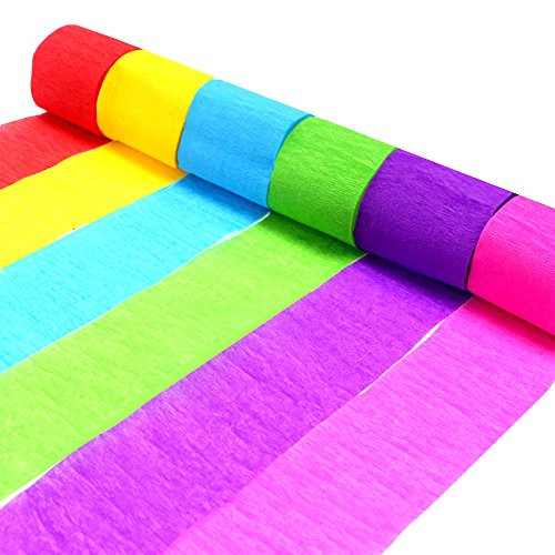 Price comparison product image Coceca 24 Rolls Crepe Paper Streamers, 6 Colors, for Birthday Party Class PartyFamily Gathering Graduation Ceremony Decorations