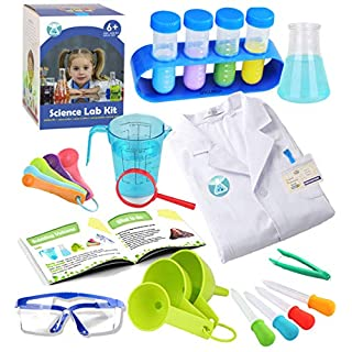 Kids Science Experiment Kit with Lab Coat Scientist Costume Dress Up and Role Play Toys Gift for Boys Girls Kids Age 5-11 Christmas Birthday Party