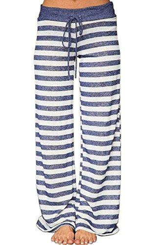 Pajamas Bottoms Sleep Lounge Palazzo Yoga Pants Wide Leg High Waisted Elastic Waist Tall Long Length Cotton Comfy Cheap Drawstring Casual Soft Stretch Lightweight Cute M (Drawstring Pant Soft Tall Womens)