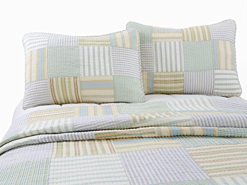 Spa Striped Patchwork 3-Piece Quilt Set (Full/Queen Size) by Cozy Line Home Fashions (Image #1)