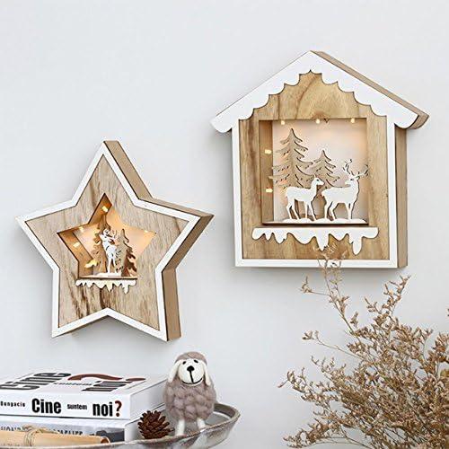 Wand Holzanhänger Nordic Kinderzimmer Dekorationen Kreative Heimat Schlafzimmer Wandbehänge Weihnachtslicht Wanddekoration , 001