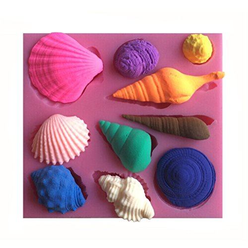 FLY 3D Seashell Conch Shape Silicone Cake Mold Fondant Candy Tools,Pink (Pink Shell Conch)