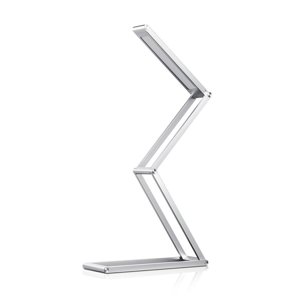 MORECOO LED Dimmable Desk Lamp ,Rechargeable Portable Table Lamp with USB Charger , 3 Brightness Levels ,Aluminum Alloy Foldable Lamp for Reading Studying Working(Silver)