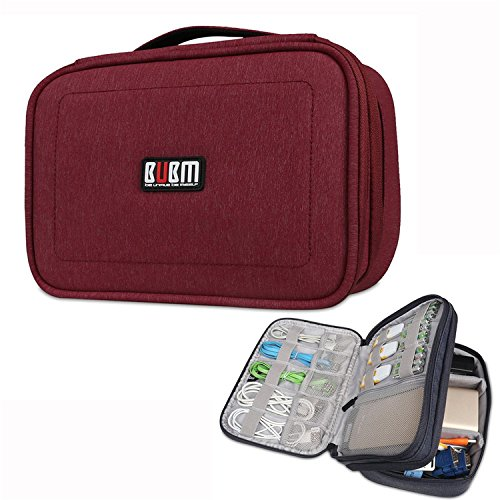 BUBM Multi-function Waterproof Travel Gear Organizer / Electronics Accessories Bag Double Layer Case (Small, Red)