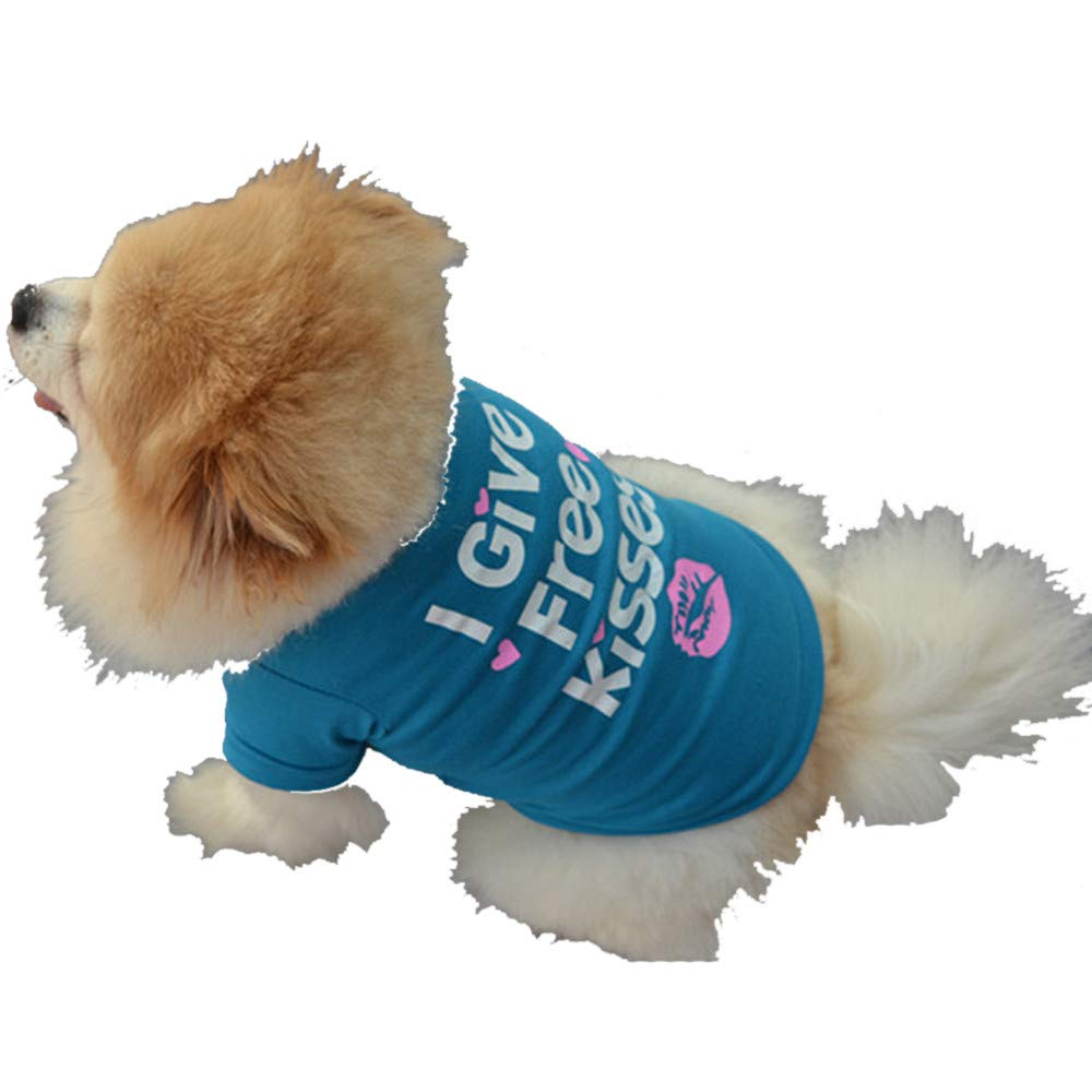 Howstar Pet Shirts Super Cute Puppy T Shirt Kisses Printed Dogs Summer Vest Costumes Cat Tank Top (L, Blue) by Howstar (Image #5)