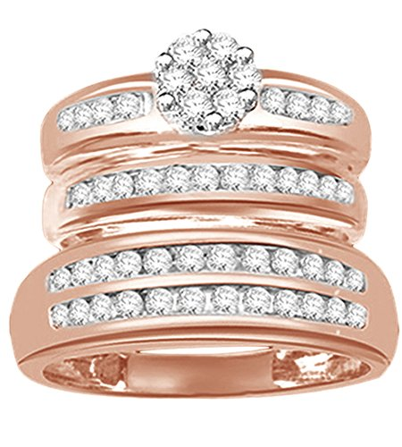 Jewel Zone US White Natural Diamond Engagement & Wedding Trio Band Ring Set in 14k Rose Gold Over Sterling Silver (0.25 (0.25 Ct Diamond Trio)