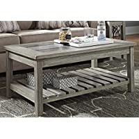 Veldar Whitewash Color Rectangular Cocktail Table