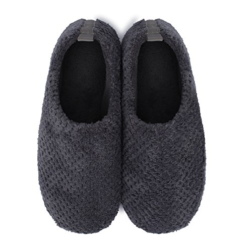 Indoor Casual Shoes on Slip and Home Women's Foam Men's Dark Clogs Fur Slippers Gray JIASUQI Warm Memory Ankle n8p6x