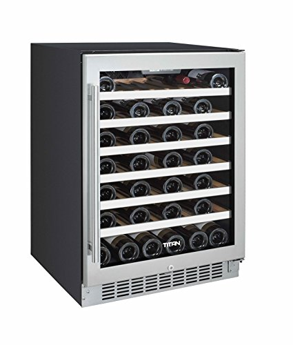 Titan TT-CWC2450SZ 50 Bottle Single Zone SEAMLESS Stainless Steel Wine Cooler