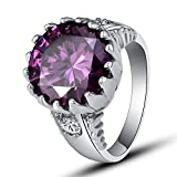 Psiroy 925 Sterling Silver Grace Womens Band Charms 14mm14mm Round Cut amethyst Filled Ring