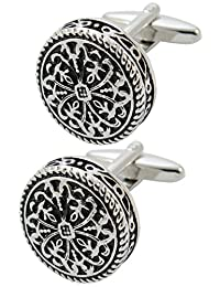 COLLAR AND CUFFS LONDON - PREMIUM Cufflinks WITH GIFT BOX Antique-Style Celtic Design - Brass - Round Cross Design - 20mm Diameter - Silver and Black Colours