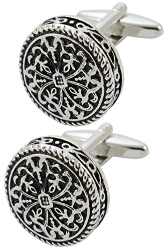COLLAR AND CUFFS LONDON - PREMIUM Cufflinks WITH GIFT BOX - Antique-Style Celtic Design - Brass - Round Cross Design - 20mm Diameter - Silver and Black Colours Celtic Design Cufflinks