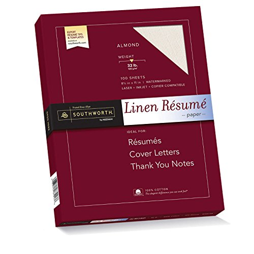 - Southworth Linen Résumé Paper, Almond, 32 Pounds, 100 Count (RD18ACFLN)
