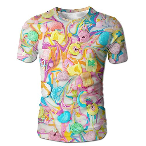 3D Print Short Sleeve O-Neck T-Shirt Lucky Charms Chocolate Bark Tees Tops for Men ()