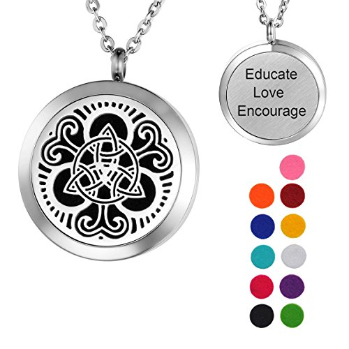 Valyria Celtic Knot Aromatherapy Essential Oil Diffuser Necklace,Stainless Steel Locket with Educate Love Encourage Engraved
