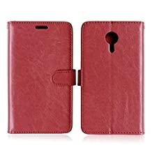 Meizu MX5 High Quality Synthetic PU Leather Case Solid Color Wallet Stand Case Silicone Cover for Meizu MX5 ( Color : Brown-Meizu MX5 )