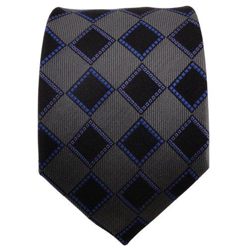 TigerTie cravate en soie bleu anthracite noir à carreaux - cravate en soie