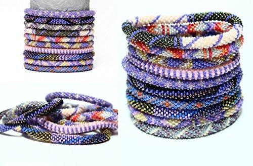 Nepal Roll On Bracelets- Glass Seed Bead Nepal Bracelets- PURPLE Themed Grab Bag Assortment 10 PC Handmade by LOTUS SKY- Authentic Lotus Sky ()