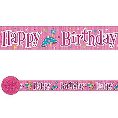 amscan Sparkling Princess Birthday Party Crepe Streamers Decoration (1 Piece), 30', Pink: Toys & Games