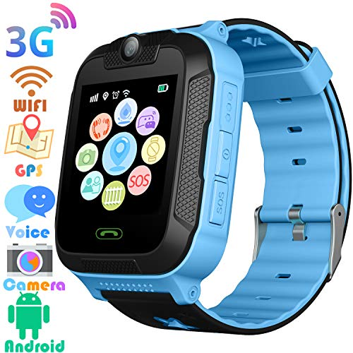 3G Kids Smart Watches GPS Tracker – Kids Android Smart Watch Phone for Boys Girls with 1.4″ Touch Screen Fitness Tracker Phone Camera Video Recorder Flashlight Compatible at&T/T-Mobile (Blue)