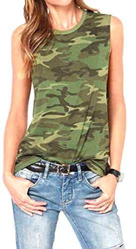 Select Beer T-shirt - Papijam Womens Camo Round Neck Sleeveless Sexy Tank Top T-shirts Army Green XS