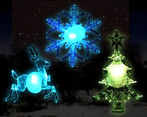 assorted color changing led lights snowflake christmas tree and reindeer with suction cups for hanging in
