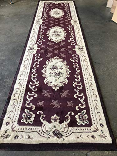 - emirates Traditional Long Aubusson Persian Floral Runner Rug Burgundy Green Beige Ivory Design 507 (31 Inch X 9 Feet 10 Inch)
