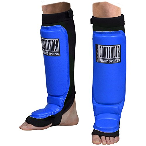 Neoprene Shin Guards - Contender Fight Sports Neoprene Shin Guards, Blue, Youth Medium