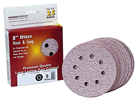 Sungold Abrasives 024103 5-Inch by 8 Hole 180 Grit Premium Plus C Weight Paper Hook and Loop Sanding Discs, - Grit Grip Disc