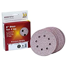 Sungold Abrasives 024172 5-Inch by 8 Hole 400 Grit Premium Plus C Weight Paper Hook and Loop Sanding Discs, 25-Pack