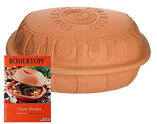 Clay Roaster (RÖMERTOPF 50th Anniversary Clay Baker, #99500 Large 4.7 Qt. with Cookbook)