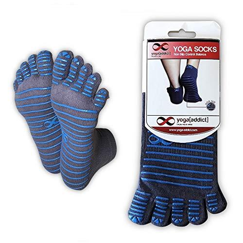 YogaAddict Full Toe Socks with Grips, Yoga, Pilates, Barre, Dance, Anti Non Slip Skid, for Women & Men, (Grey-Blue Lines)-S/M, 1 Pair