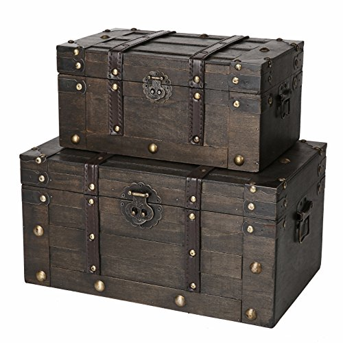 SLPR Alexander Wooden Trunk Chest with Straps (Set of 2, Rustic Brown) | Decorative Treasure Stash Box Old-Fashioned Antique Vintage Style for Birthday Parties Wedding Decoration by SLPR