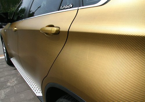 F & B LED LIGHTS Golden 3D Carbon Fiber Film Twill Weave Vinyl Sheet Roll Wrap (120'' X 60'', Golden) by F & B LED LIGHTS (Image #5)