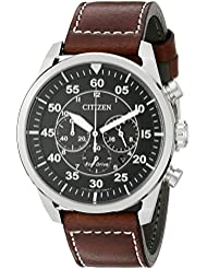 Citizen Mens Eco-Drive Stainless Steel Chronograph Watch with Date, CA4210-24E