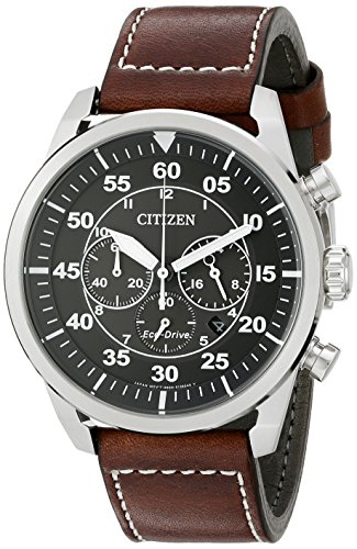 Flight Stainless Steel Watch - Citizen Men's Eco-Drive Stainless Steel Chronograph Watch with Date, CA4210-24E