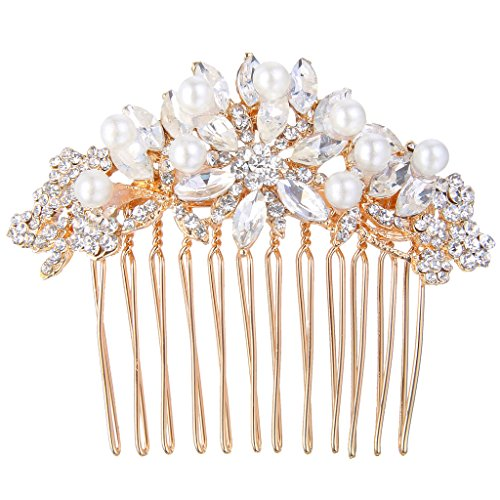 EVER FAITH Rose Gold-Tone Austrian Crystal Simulated Pearl Bridal Lots Leaves Flowers Hair Comb