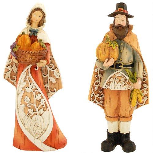 Thanksgiving Pilgrims Filigree Figurine Set (36967) ()