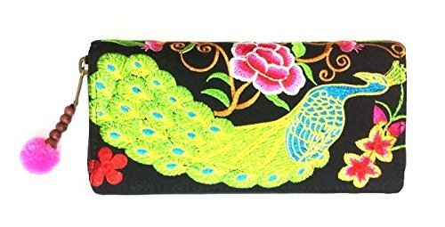 Wallet by WP Embroidery Peacock Flower Zipper Wallet Purse Clutch Bag Handbag Iphone Case Handmade for Women, Pink - Black Bvlgari Bag