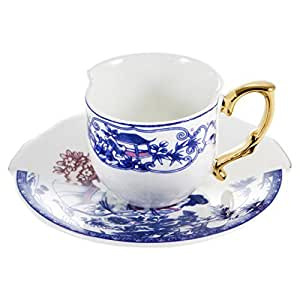 Seletti Fine Bone China Coffee Cup with Saucer Eufemia by Seletti