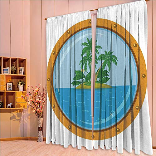 (ZHICASSIESOPHIER Modern Style Room Darkening Blackout Window Treatment Curtain Valance for Kitchen/Living Room/Bedroom/Laundry,Tropic Island View from The Bronze Ship Window 108Wx90L Inch)