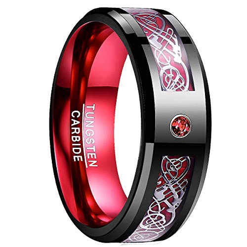 Nuncad Black and Red Tungsten Wedding Ring Celtic Dragon High Polished Finish Beveled Edge Size ()
